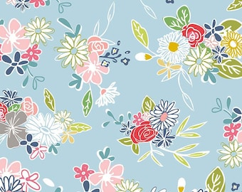 DAISY Main Blue c6280, DAISY DAYS, Riley Blake Designs, Blue Floral, Shabby Chic Nursery, Baby Girl Quilt, Quilting, Fabric By the Yard