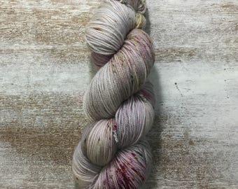 Hand Dyed Yarn - Fingering Sock Yarn - Silver Mist - merino Speckles- A