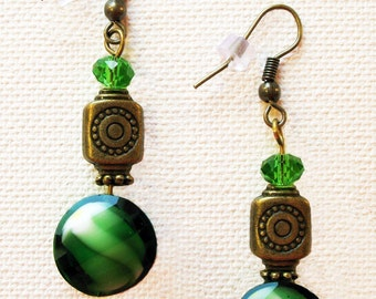 Antique brass and green beads earrings