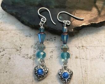 Blue Heart Earrings - Blue Rhinestones, Blue Topaz Jewelry, Heart Gifts, Anniversary, Birthstone Jewelry, Sweetheart Jewelry, Love