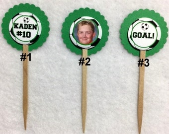 Set Of 12 Personalized Photo Soccer Cupcake Toppers