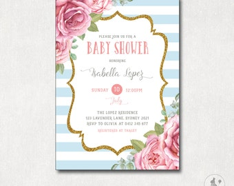Floral baby shower invitation cottage chic baby shower vintage baby shower invitation floral shower digital invite pink roses blue and gold filmwisefo Image collections
