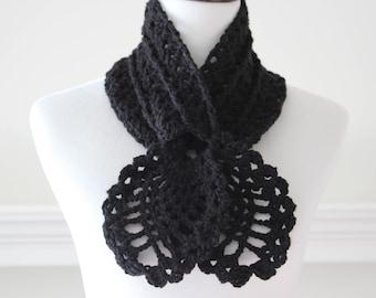 Crocheted Black Scarf, Scarflette