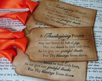 Thanksgiving Prayer Gift Tags/Labels SET of 15-Ribbon Choices Available