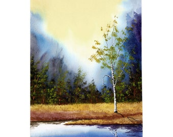 Landscape Painting watercolor Birch tree  PRINT Lake water reflections Giclee Reproduction  Blue CHOOSE SIZE