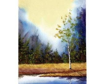 Paysage peinture aquarelle bouleau réflexions de l'eau Lac impression Giclée Reproduction Blue taille choisir