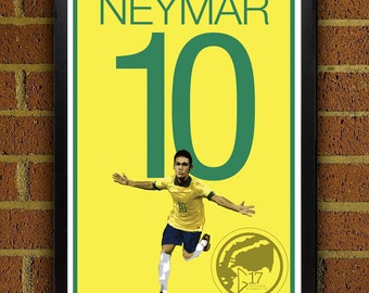 Neymar 10 Poster - Brazil - World Cup 2014 Soccer Poster- 8x10, 13x19, poster, art, wall decor, home decor, la liga