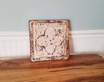 "12"" Tin Ceiling, Ceiling Tile Square Antique Tin Tile Old Ceiling Tin Quatrefoil Pattern Metal Ceiling Vintage Ceiling Tile Vintage Tin Tile"