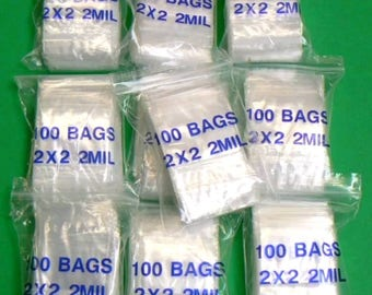 Small Clear Poly Bags 100 count 2 in x 2 in  2mil  Zip Lock