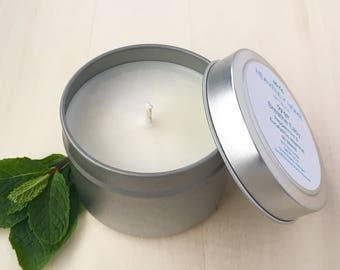 Aromatherapy Candle - Eucalyptus Candle - Candle Tin - Scented Soy Candle - Natural Candle - Mint Candle - Soy Candle - Bedroom Candle