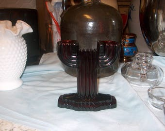 1 Antique Vintage Ruby Red Glass Candleholder