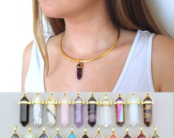 Gold Crystal Necklace. Healing Crystal Choker Necklace. Simple Boho Crystal Necklace. Dainty Gift for Her. Gold Crystal Point Necklace.