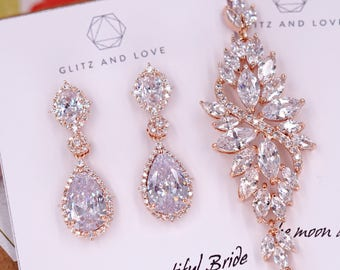 Rose Gold Wedding Bride Bridesmaid Gift Bridal Earrings Bracelet Jewelry Set Clear Cubic Zirconia Teardrop Earrings E316 B86 B87