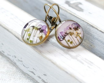 Statement earrings Purple flowers earrings Art earrings Lavender purple earrings for her Violet earrings for mother Rustic earrings for lady