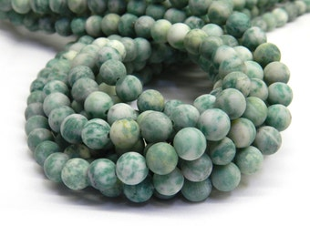 Qinghai Jade, Matte Beads, 8mm Beads, Jade Beads, Frosted Beads, Green Beads, Jade Green, Green Gemstone, Natural Jade, Natural Gemstones