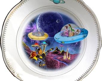 Coming Home - Flying Saucer - Vintage Porcelain Plate - #0555