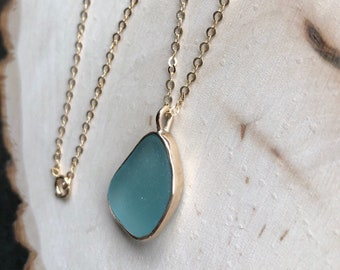 Turquoise Sea Glass Necklace//14k GF