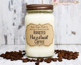 Roasted Hazelnut Coffee Scented Candle, Soy Wax Candle, Scented Candle, Mason Jar Candles, Peersonlized Candle, Coffee Candle, Strong Coffee
