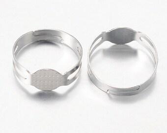 Silver Adjustable ring Shanks, finger rings, blanks, various amounts