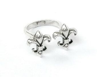Ring Fleur de lys, unlocked, Sterling Silver, gold