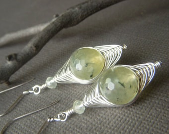 Herringbone Weave Earrings, Sterling Silver, Rutilated Prehnite Gemstone Dangle, Pale Yellow Green Earrings