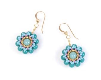Turquoise boho earrings, elegant flower jewelry, beaded flower earrings, easter gift ideas for her, 150-338