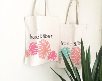 Spring/Summer18 Frond & Fiber Tote Bag, Screenprinted canvas tote bag, philodendron frond