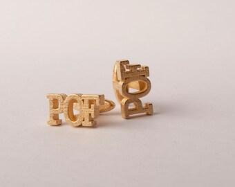 Initial Cufflinks in stainless steel - gold colour, Custom Monogram Cufflinks, Custom Groom Cufflinks, Custom Wedding cufflinks