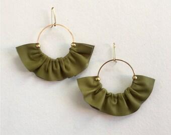 Leather fan earrings, Green Statement earrings in leather, Fan earrings, Statement hoop earrings, Boho fan earrings