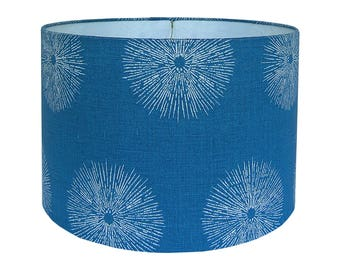 Teal Lamp Shade, Blue Lamp Shade, Sea Urchin by Kelly Werstler for Groundworks, Nautical Lamp Shade, Custom Lamp Shade, Linen Lamp Shade