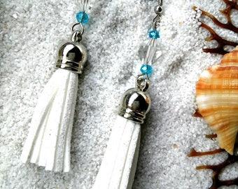 White tassel dangle earrings, crystal beads earrings, boho earrings, leather and bead earrings, blue and white earrings