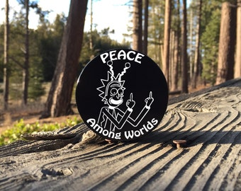 Large 2.5inch Custom Engraved Herb Grinder - Peace Among Worlds Rick and Morty Art - 4 Piece Aluminum