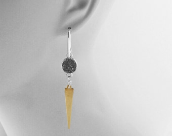 Druzy Jewelry, Modern Earrings, Inspired By Lucky Brand, Birthday Gift For Sister, Fun Style, SILVER DRUZY with Brass SPIKE Dangle Earrings