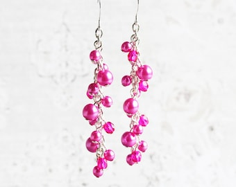 Hot Pink Earrings, Pearl Cluster Earrings on Silver Plated Hooks, Long Pink Earrings, Bridesmaid Jewelry (Choose Your Hook Style)