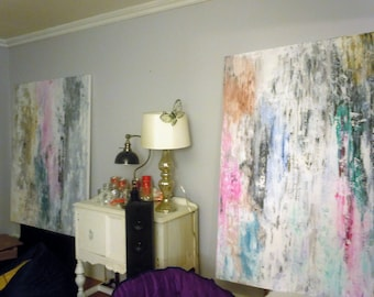 Huge Abstract Custom Painting in your size and colors on rolled cotton canvas Free Shipping