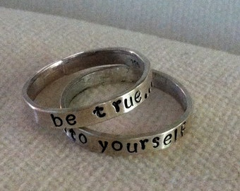 Sterling Silver Personalized Ring Band.  Custom.  Fun.  Message.  Eco Friendly.  Recycled Silver.
