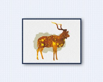 Kudu Watercolor Poster