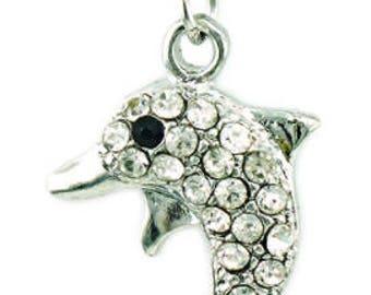 Crystal Rhinestone Dolphin Charm - Clip-On - Ready to Wear