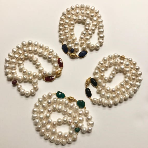 """Pearl Necklace, Pearl and Gemstone Necklace, Pearl and Ruby, Pearl and Sapphire, Pearl and Onyx, Pearl and Emerald, 22K Gold Plate, 27"""" Long"""