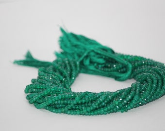 100% Natural Green Onyx Faceted Rondelle Beads 4-4.5mm