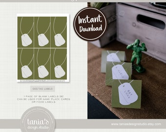Army - Toy Soldier - Dog Tag Place Card Food Labels – Instant Download - Army Birthday Collection - Tania's Design Studio