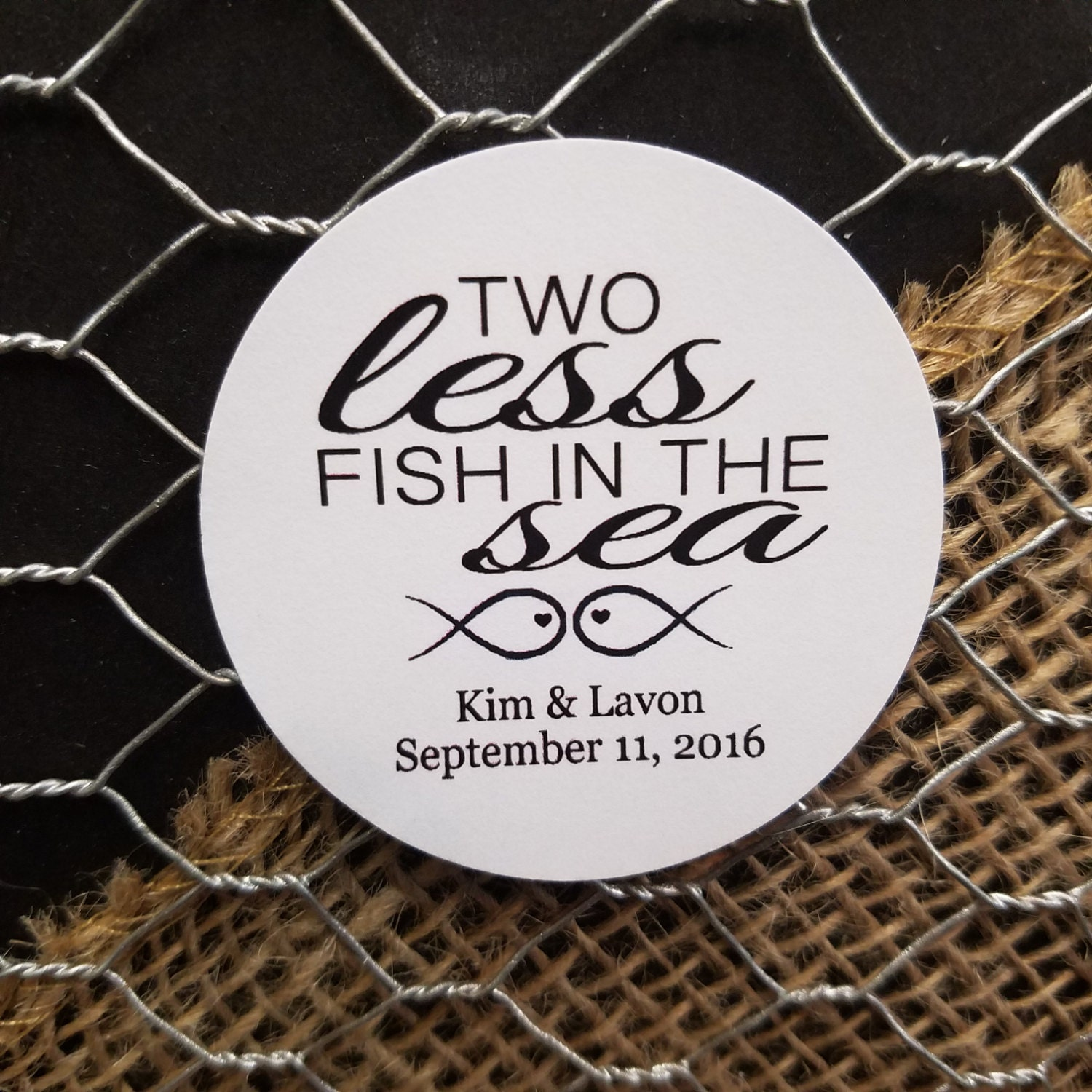 Two Less Fish in the Sea 2 STICKER Personalized Wedding Shower Favor ...