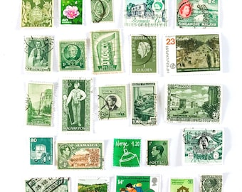 25 green, used postage stamps from 19 different countries, all off paper for collage, stamp collecting, decoupage, ephemera and crafting