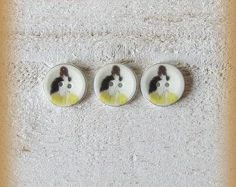 Set of 3 porcelain buttons of 18mm