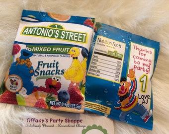 Sesame Street Fruit Snacks Wrapper, Sesame Street Fruit Snack Favor, Sesame Street Favors - Unfilled - PRINTED & SHIPPED