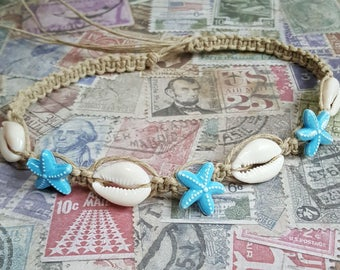 Hemp Necklace with Cowrie Shells and Turquoise Blue Starfish Beads Ocean Inspired