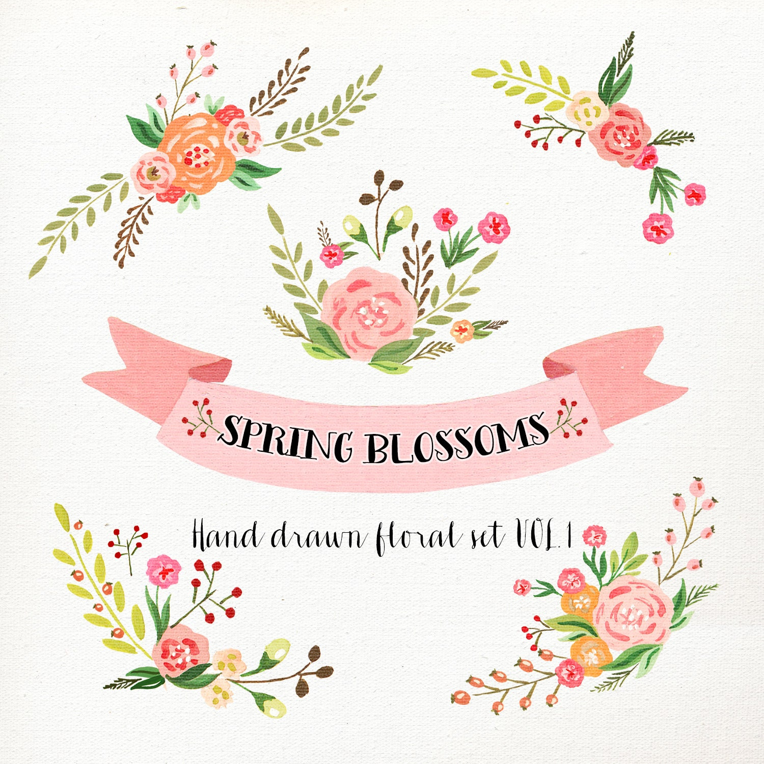 Watercolor Flower Clipart Wedding floral Clip art Floral