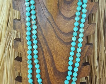 "36"" and 60"" 8mm Long Shiny Turquoise Beaded Necklace, Extra Long Turquoise Necklace, Long Shiny Turquoise Magnesite Gemstone Necklace,"