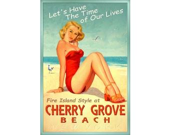 Cherry Grove Beach Long Island New York Pin Up Poster New Fire Island Sea Shore Ocean Art Print 167