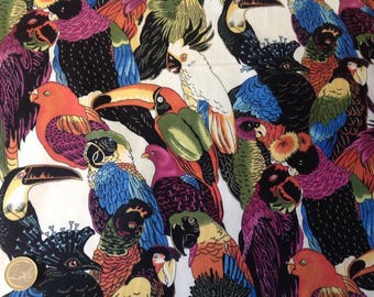 High quality cotton poplin, exotic birds print on white